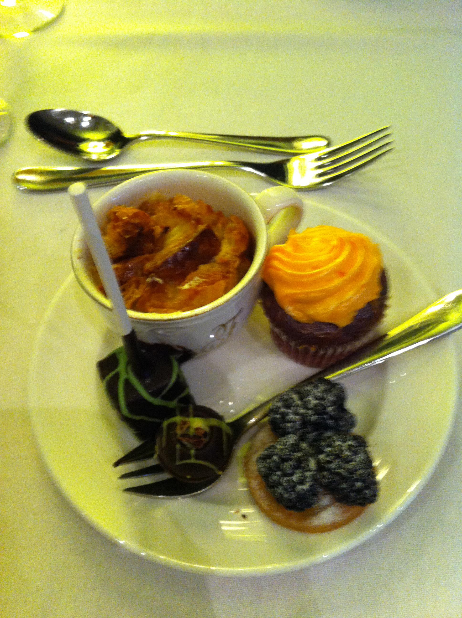 Dessert Plate #1: black berry tartelette, red velvet cupcake ...
